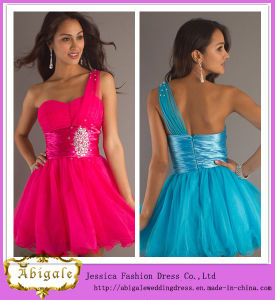 Elegant Sexy Organza One-Shoulder Ruched Sequins Sleevelesstwo-Tone Cocktail Dresses Yj0087