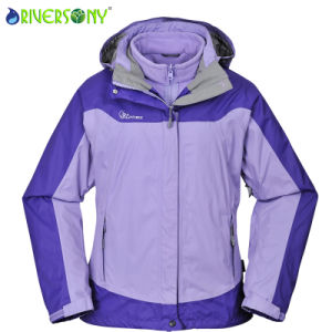 Winter 3 in 1 Jacket Women Ski Jacket with Hood pictures & photos