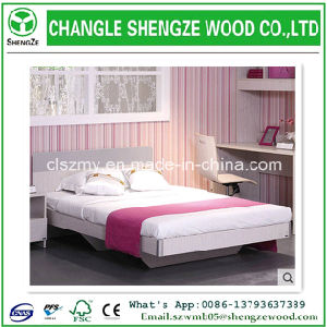 Wholesale Wood Grain Melaimine MDF Wooden Double Bed pictures & photos