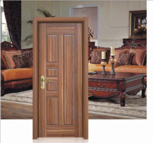 Walnut Colour Simple Design Solid Wooden Door pictures & photos