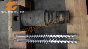 Twin Conical Screw Barrel Double Screw Barrel PVC/PP/PE Sheet, Profile, Pipe Pellets pictures & photos