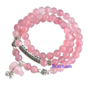 Natural Strawberry Beads Bracelet with Silver Charm (BRG0013)