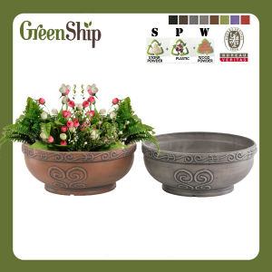 Hand Caved Garden Planter with Lacy Rim Aab31---Green Ship