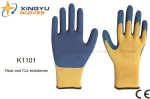 10g Meta-Aramid Fibre Latex Crinkle Heat&Cut Resistance Safety Work Glove (K1101) pictures & photos