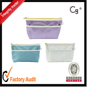 New Colorful Fabric Leather Cosmetic Bag with Compartments pictures & photos