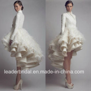 Short Ball Gown Long Sleeves Krikor Jabotian Feather Satin Bridal Wedding Dress W15218 pictures & photos