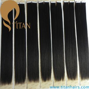 Invisible Natural Virgin Human Hair Silky Straight Tape Hair Extension pictures & photos