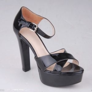 Sexy Straps Women Summer High Heels Shoes (Black MSK-H1128)