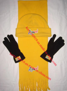 Promotion Polar Fleece Warm Set Beanie Cap with Glove Scarf pictures & photos
