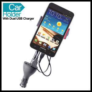 Dual USB Car Holder Mount for Mobile Cell Phone Smartphone pictures & photos