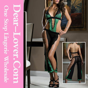 Undeniable Green Lace Sheer Black Mesh Bodysuit pictures & photos