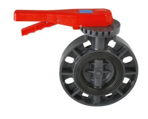 Plastic Wafer Type Butterfly Valve with Gear Operator pictures & photos