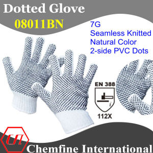 7g White Polyester/Cotton Knitted Glove with 2-Side Black PVC Dots/ En388: 112X pictures & photos