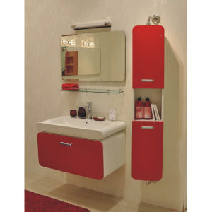 Oppein Euro Quality Rotatable Mirror Red Lacquer Bathroom Cabinet (OP-P1203-90) pictures & photos