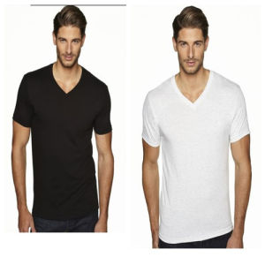 White Blank Men′s Cheap V Neck T Shirt pictures & photos