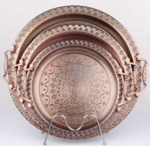 Round Antique Copper Tray with Steel Handle pictures & photos