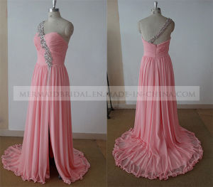 One Shoulder Beading Split Chiffon Long Evening Dress Bridesmaid Dress Party Dress