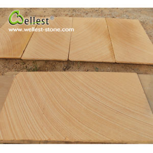 Yellow Wood Hone Sandstone for Floor/Wall Tile pictures & photos