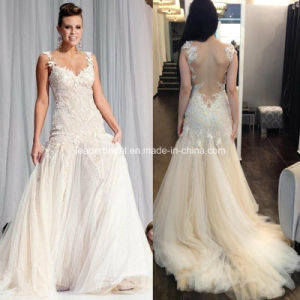 China Double Straps Champagne Venice Lace Tulle A-Line Wedding ...