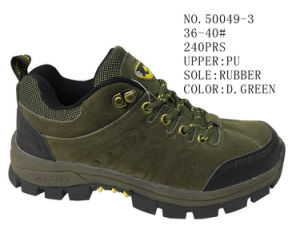 No. 50049 Lady′s Hiking Shoes PU Upper Stock Shoes pictures & photos