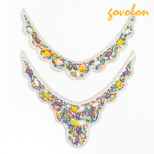 New Design Neckline Beaded with Colorful Stones pictures & photos