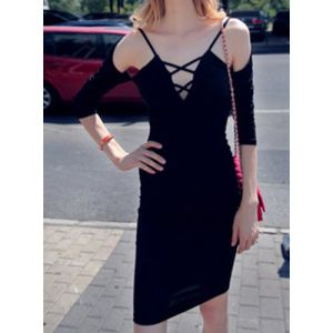 Speghetti Strap Half Sleeve Fashion Lady Dress Bandage pictures & photos