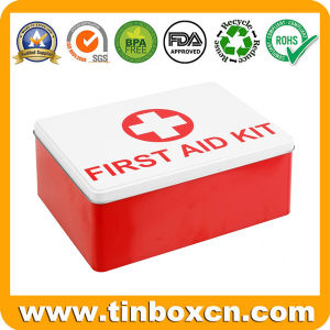 Custom Rectangular Metal Storge Tin Box for First Aid Kit pictures & photos