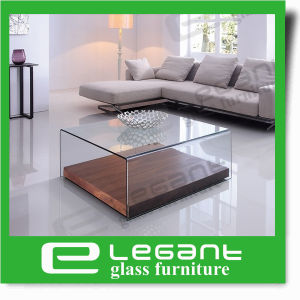 Simple Square Curved Glass Center Table with Mirror pictures & photos