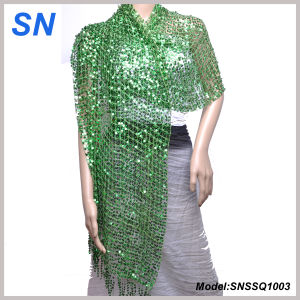 Lady′s Sequined Shawl, Long Slim Scarf, Paillette Scarf pictures & photos