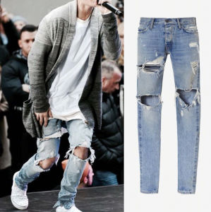 Factory Fashion Best Sale Light Blue Slim Tear Washed Denim Trousers Jeans pictures & photos