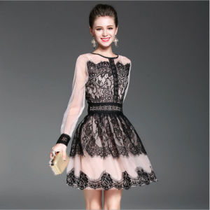Grenadine Jiont Lace Hollow Floral Lady Party Tutu Dress Apparel pictures & photos