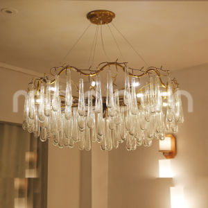 Modern European Iron Metal Art Golden G9 LED Rain Drop Crystal Chandelier for Living Room pictures & photos