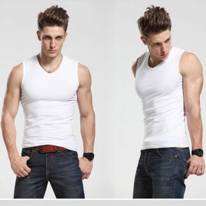 White Blank Sleeveless T-Shirt / Round Neck Sleeveless T-Shirt pictures & photos