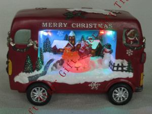 Polyresin Bus W/Xmas Scene W/LED Light and Music