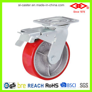 200mm Swivel with Side Brake PU Caster Wheel (P701-46D200X50Z) pictures & photos