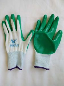 13G Polyester Shell Nitrile Coated Safety Work Gloves (N6020) pictures & photos