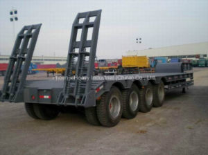 4 Axles 80ton Low Bed Semi Trailer for Construction Machinery Transportation pictures & photos
