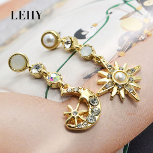 Rhinestone Sun Moon Gold-Plated Dangle Drop Earrings Imitation Jewelry pictures & photos