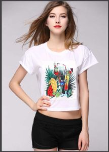Custom Women Short Style Summer Round Neck Printed T-Shirt pictures & photos