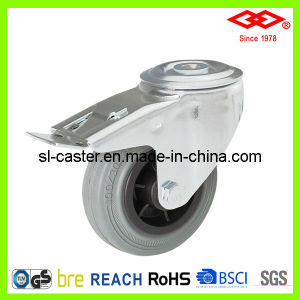 200mm Bolt Hole Locking Grey Rubber Industrial Caster (G102-32D200X50S) pictures & photos