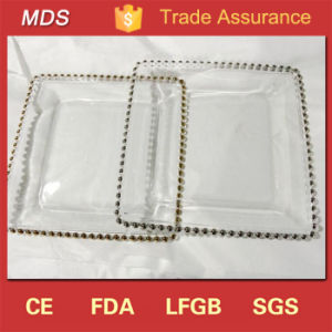 Wholesale Dinnerware Silver Gold Beaded Rectangle Glass Charger Plate pictures & photos