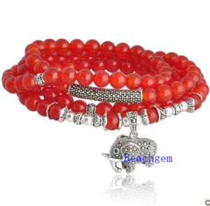 Natural Red Onyx Beads Bracelet with Silver Charm (BRG00014) pictures & photos