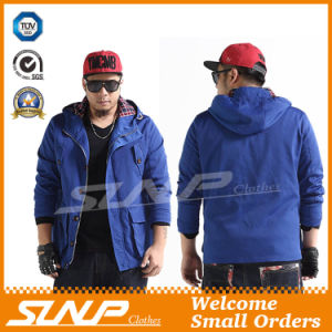 Casual Oversize Hooded Blue Coat for Men