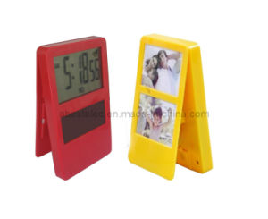 Solar Clip Clock with Photo Frame, Alarm Clock, Desk Clock