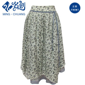 Fashion Summer Lady Long A-Line Printed Irregular Bottom Skirt pictures & photos