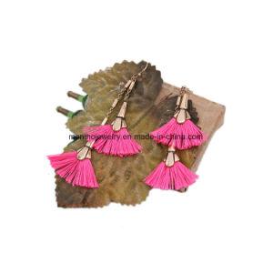 Double Fan Drop Long Shoulder Pink Convertible Tassel Earring Jewelry pictures & photos