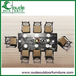 Cast Aluminium Long Table and Eight Chairs