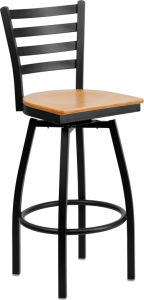 Metal Cross Back Barstool with Wood Seat