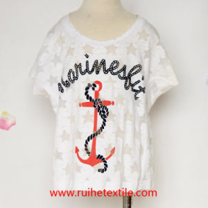 100% Cotton Fashion White Color Woven Blouse for Girls