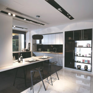 China pvc furniture classical black and white high gloss for High gloss black kitchen cabinets